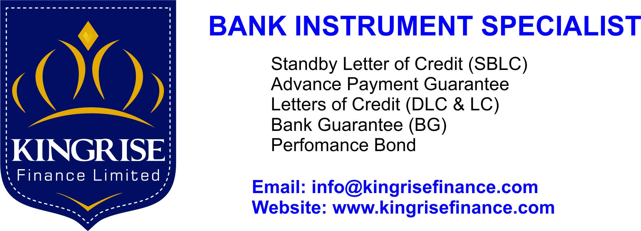 Providers Of Bank Instruments (BG/SBLC) | Kingrise Finance Limited