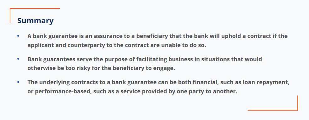 summary of a bank guarantee